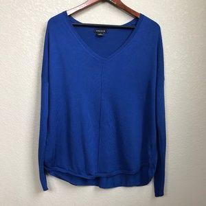 Blue Cashmere Blend V-neck Lightweight Sweater